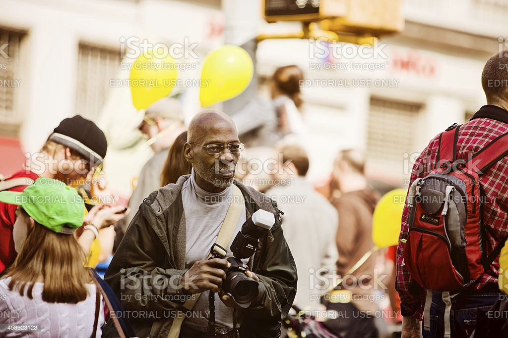 Photographer in a crowd of protestors, New York stock photo