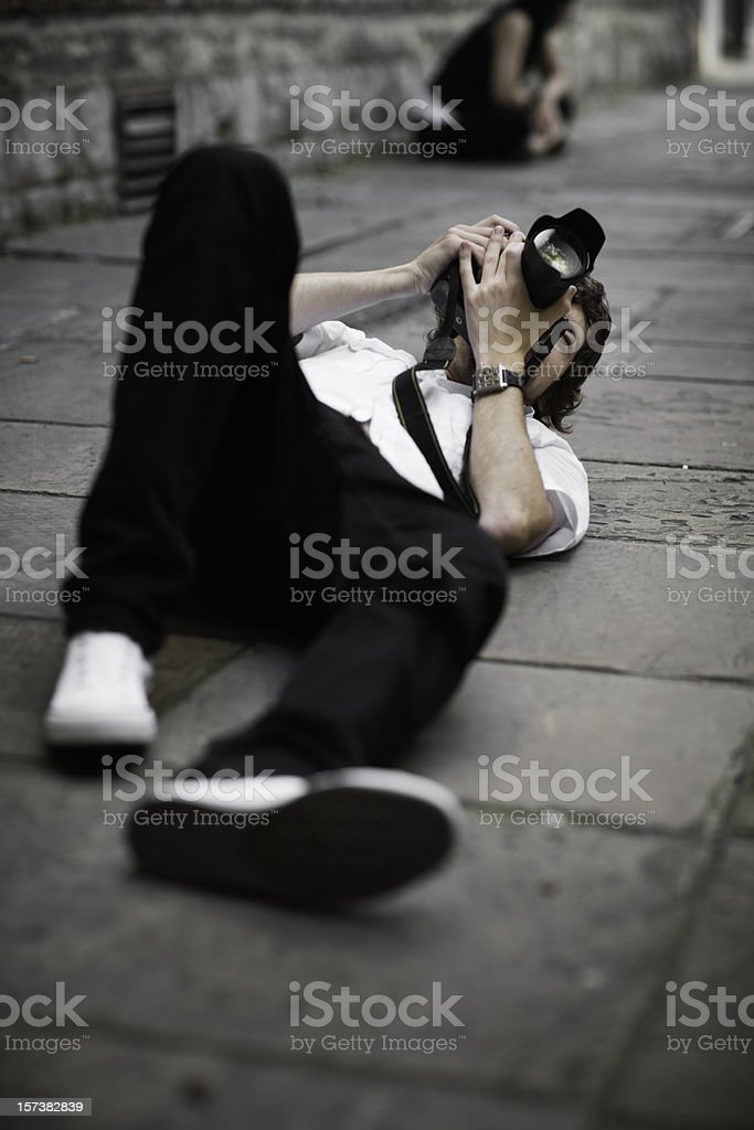 Photographer in action royalty-free stock photo