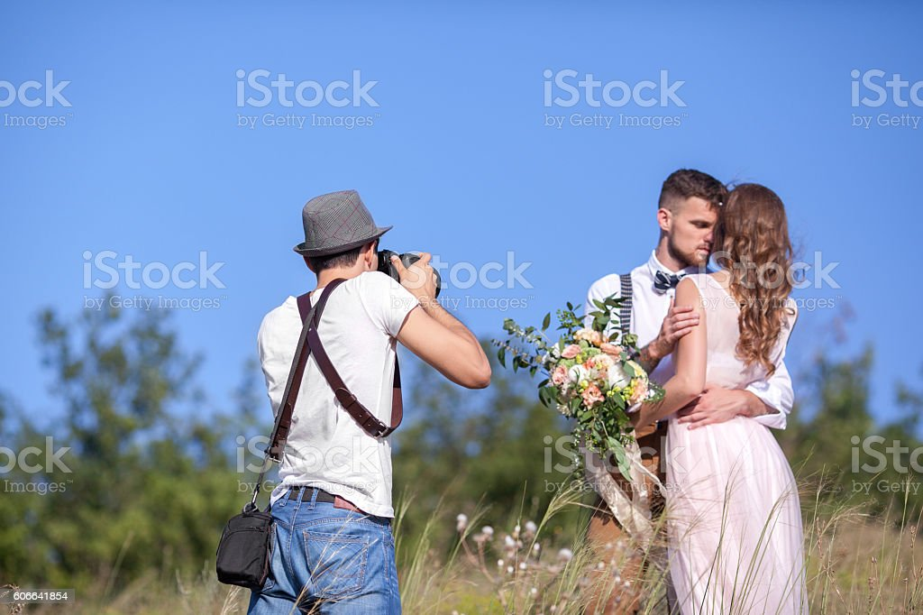 photographer in action stock photo