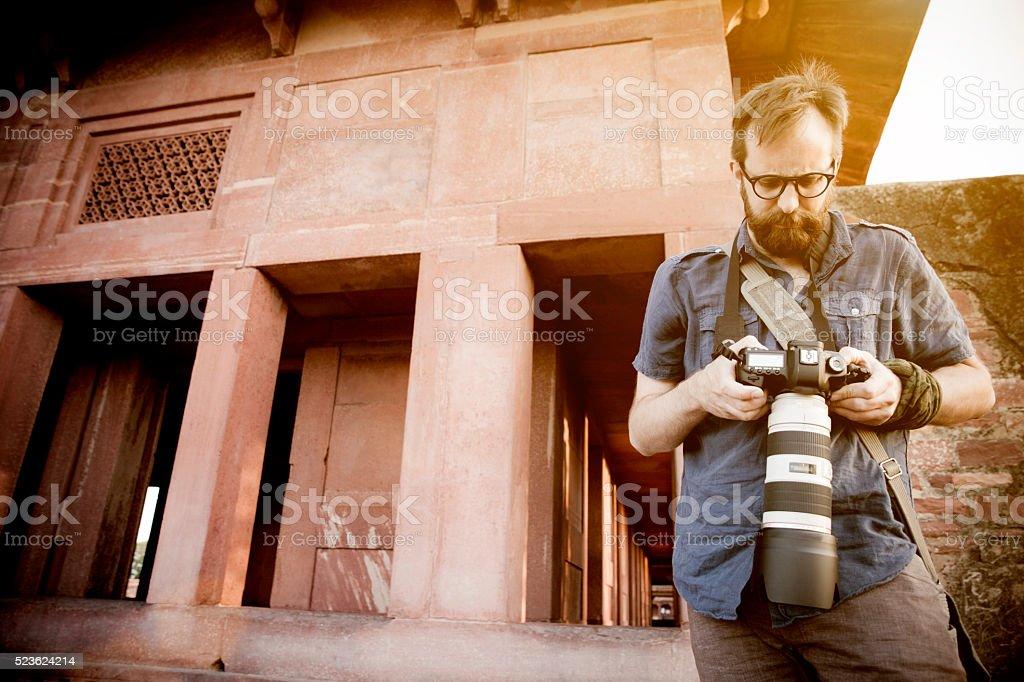 Photographer in India stock photo