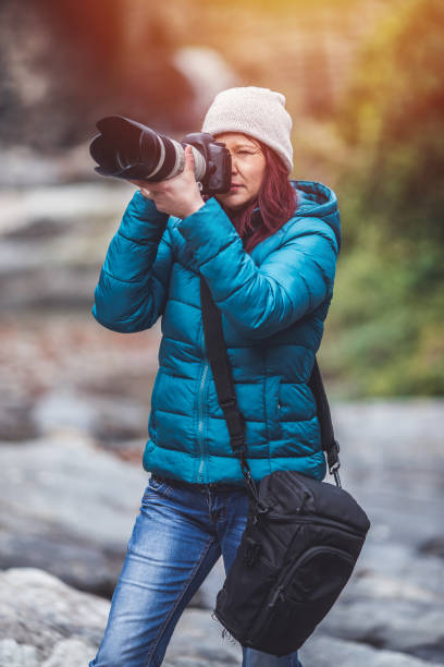 Photographer in nature stock photo