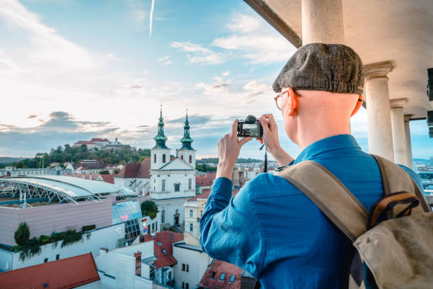 Photographer is taking shots of city view  in Brno in Czech Republic Camera, Famous Place, Tower, Old Town,  International Landmark brno stock pictures, royalty-free photos & images