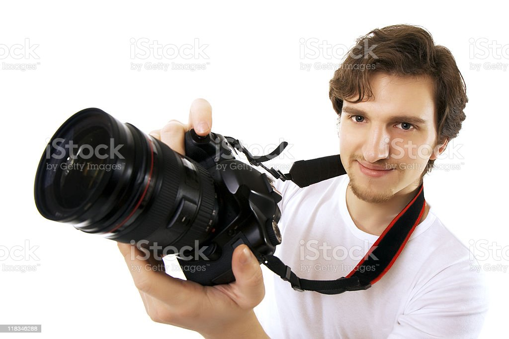 Photographer on a white background royalty-free stock photo