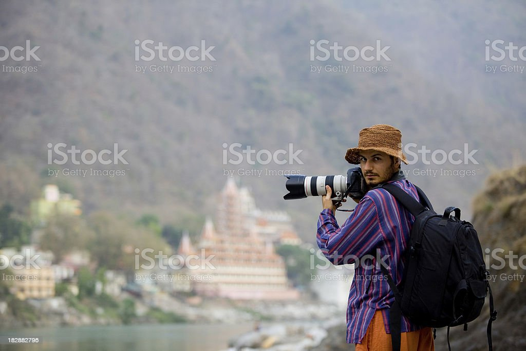 Photographer on duty in Himalayas India stock photo