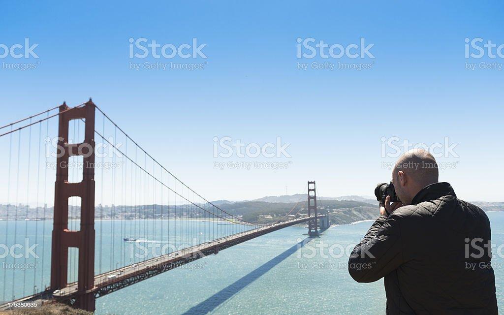 Photographer photographing the San Francisco golden gate bridge royalty-free stock photo