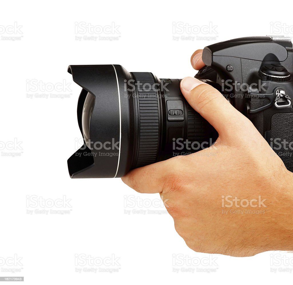 Photographer shooting - isolated royalty-free stock photo