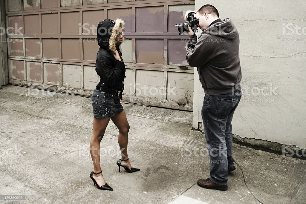 Photographer Shooting Model. royalty-free stock photo
