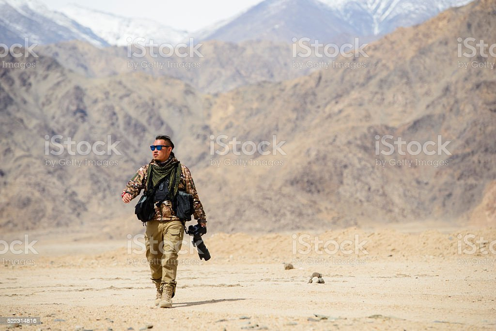 Photographer soldier with camera stock photo