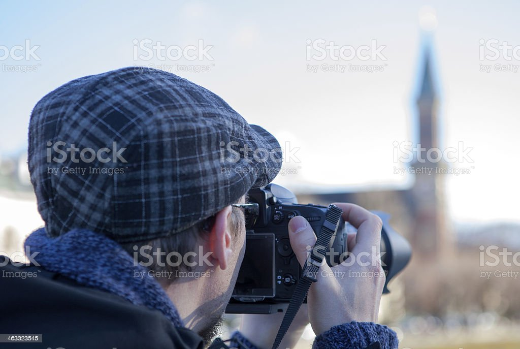 Photographer take picture of a church stock photo