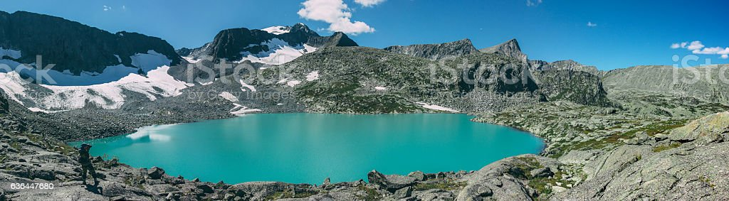 Photographer takes picture of matte cyan Strong Lake stock photo