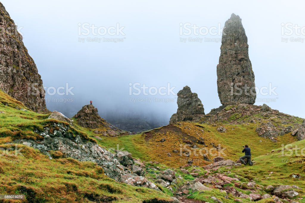 Photographer taking a picture for an outdoor campaign, Scotland stock photo