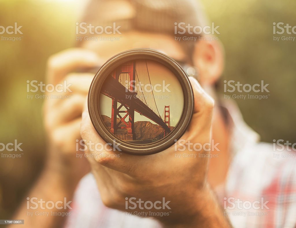 Photographer taking a picture in san francisco royalty-free stock photo