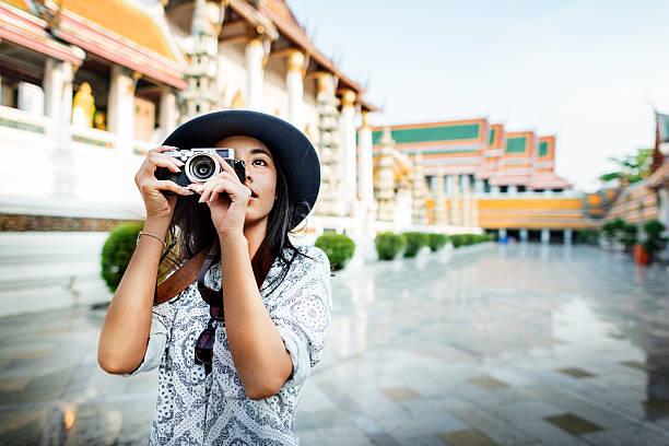 Fotograf Reisen, Sightseeing Wandern Hobby Recreation Konzept – Foto