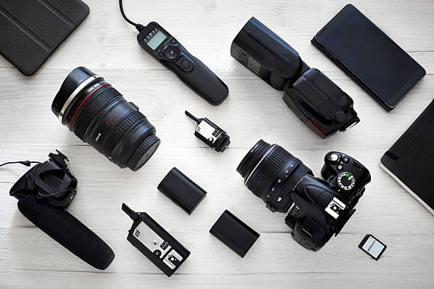 photographer videographer kit - camera photographic equipment stock photos and pictures