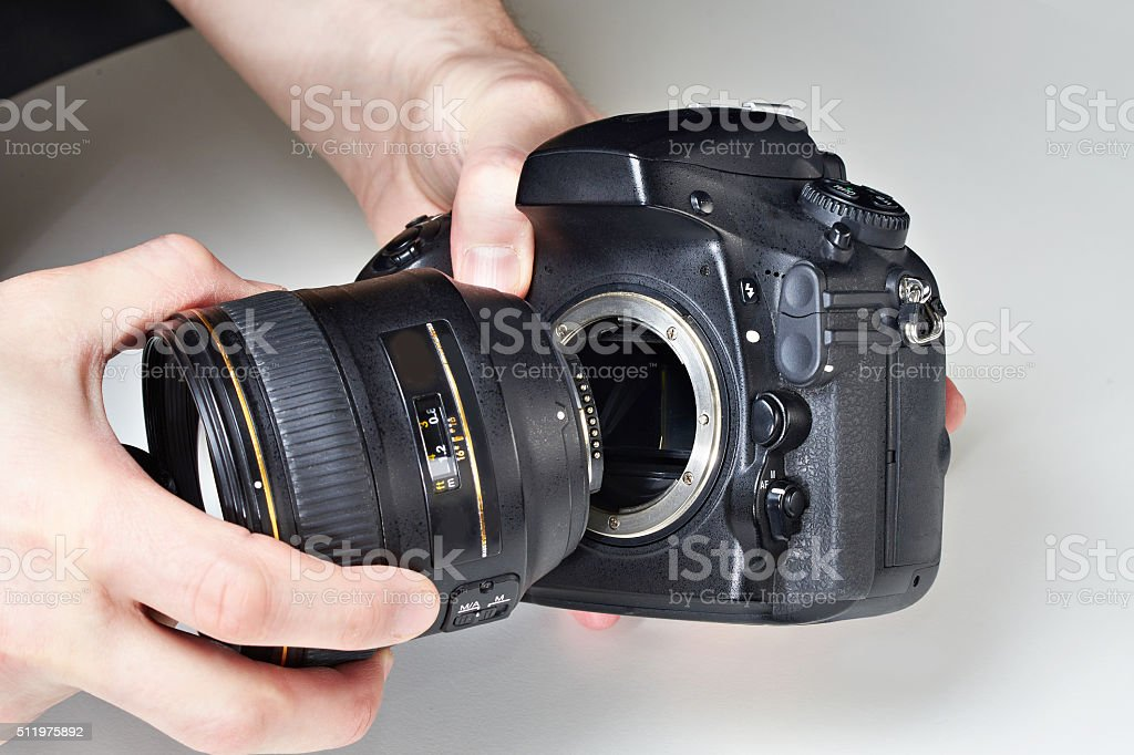 Photographer with big lens and digital SLR camera stock photo