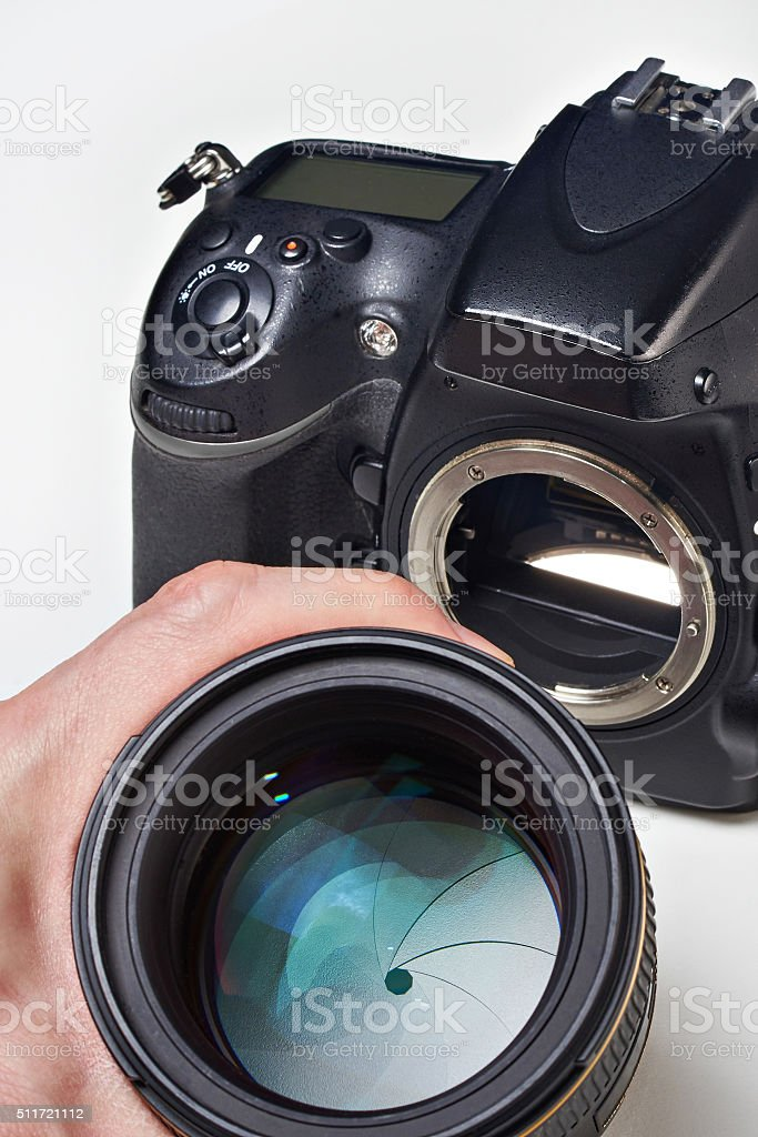 Photographer with big lens and SLR camera stock photo