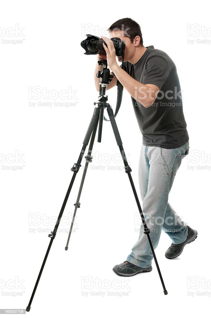 Photographer with camera, isolated on white stock photo