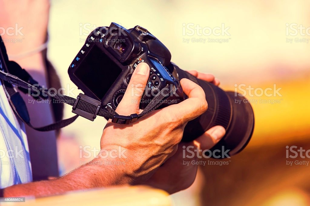 photographer with camera stock photo