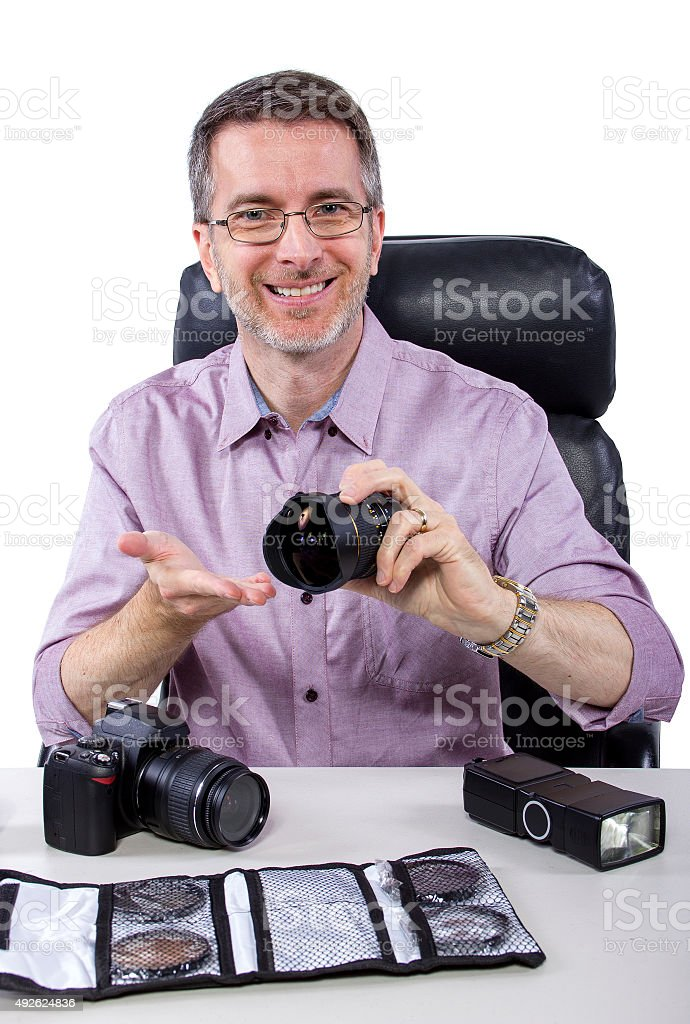 Photographer with Gear stock photo