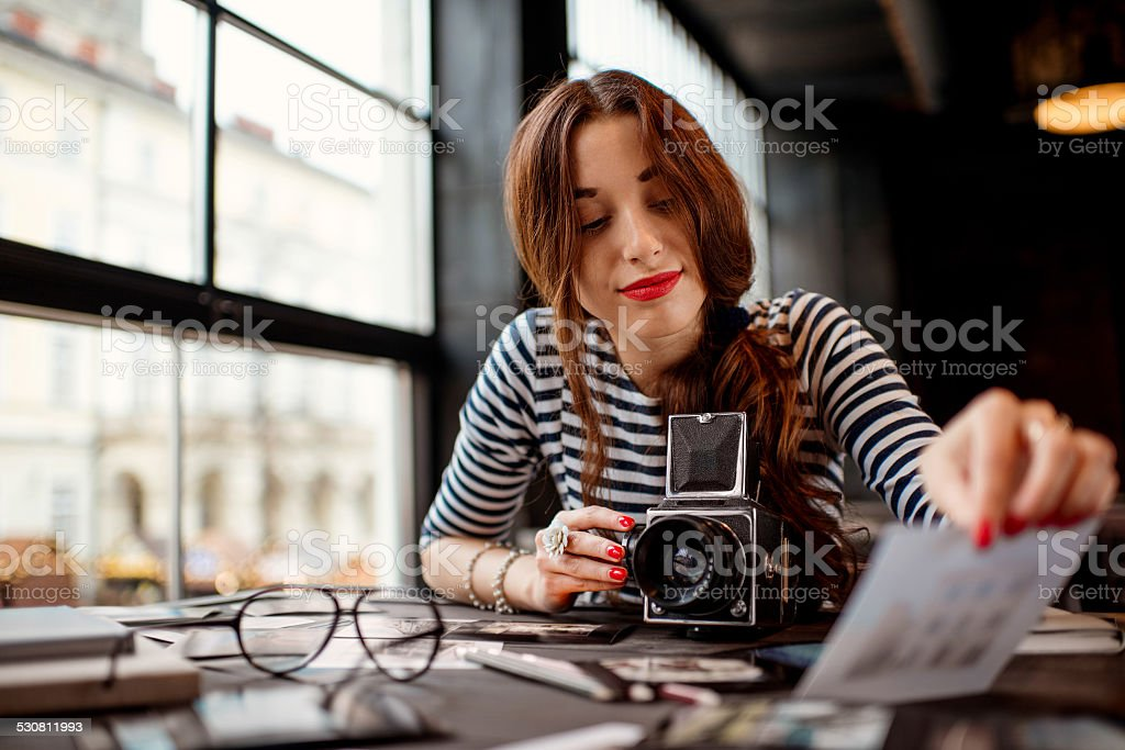 Photographer working stock photo