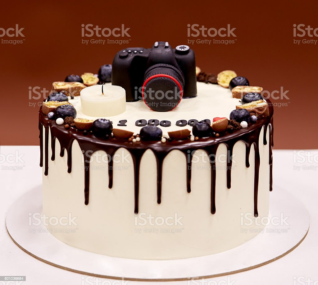 Pleasing Photographers Birthday Cake With A Photo Camera On Top Stock Photo Birthday Cards Printable Benkemecafe Filternl