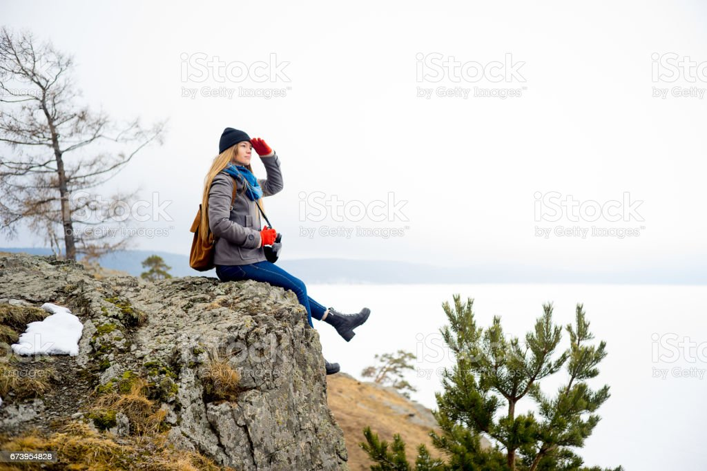 Photographers on a hill royalty-free stock photo