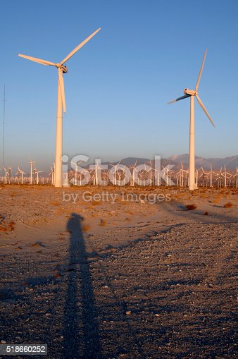 Photographer with Tripod Casts Shadow Among Wind Turbines