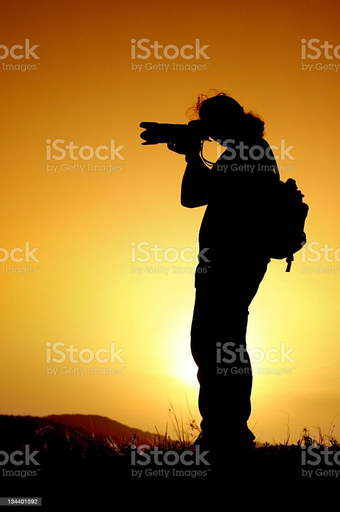 Photographer's silhouette royalty-free stock photo