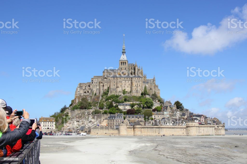 Photographers Snapping Pictures of Mont Saint Michel royalty-free stock photo