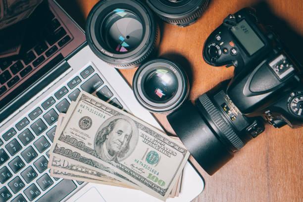 photographer's work desk, top view stock photo