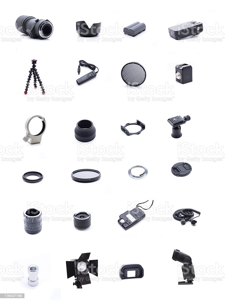 Photographic accessories stock photo