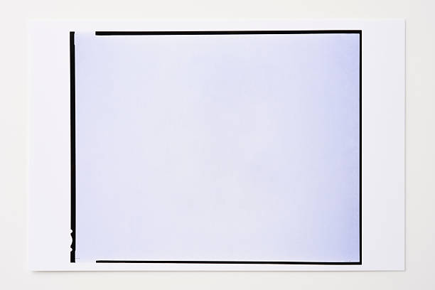 Photographic paper with blank photo frame on white background Close up of photographic paper with  blank 8x10inch photo frame isolated on white background. black border stock pictures, royalty-free photos & images