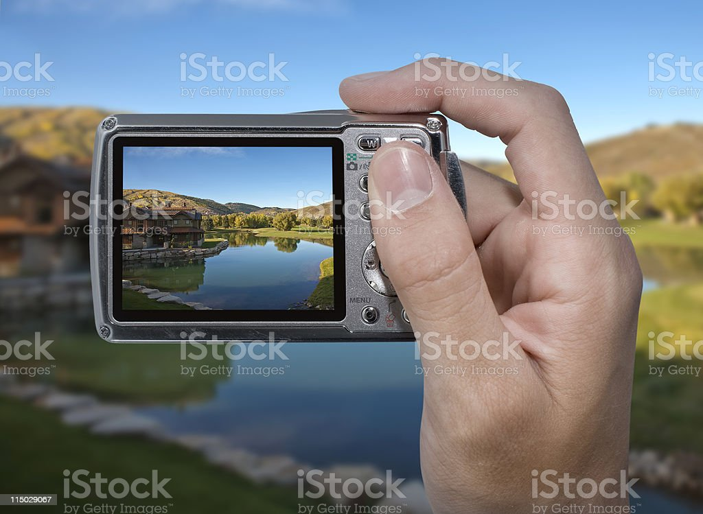 Photographing a cabin royalty-free stock photo