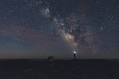 A man photographs a bright meteor with a smart phone.  Long exposure.