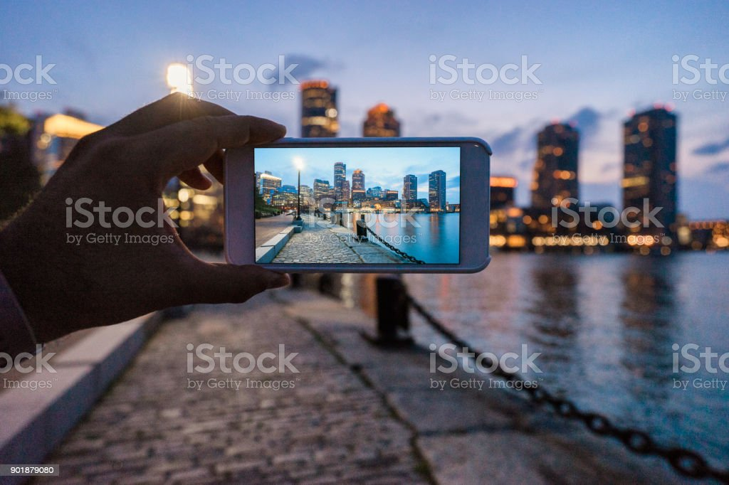 Skyline von Boston bei Sonnenuntergang fotografieren – Foto