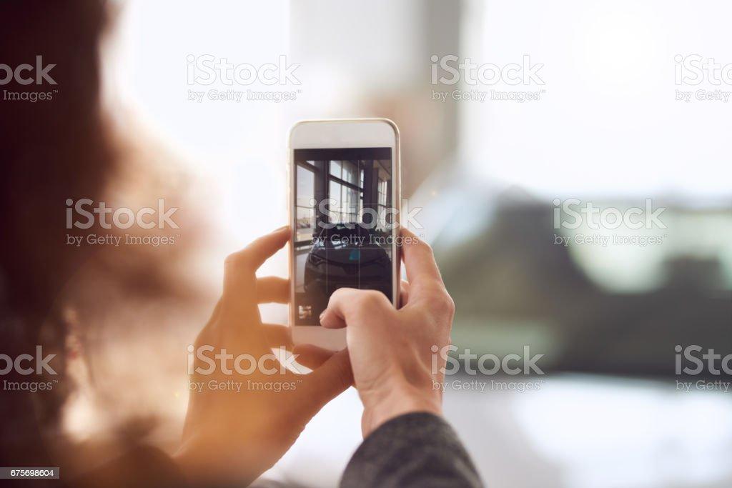 Auto fotografieren - Lizenzfrei Am Telefon Stock-Foto