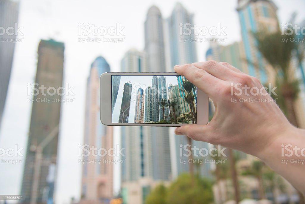 Photographing Dubai Marina Skyline stock photo