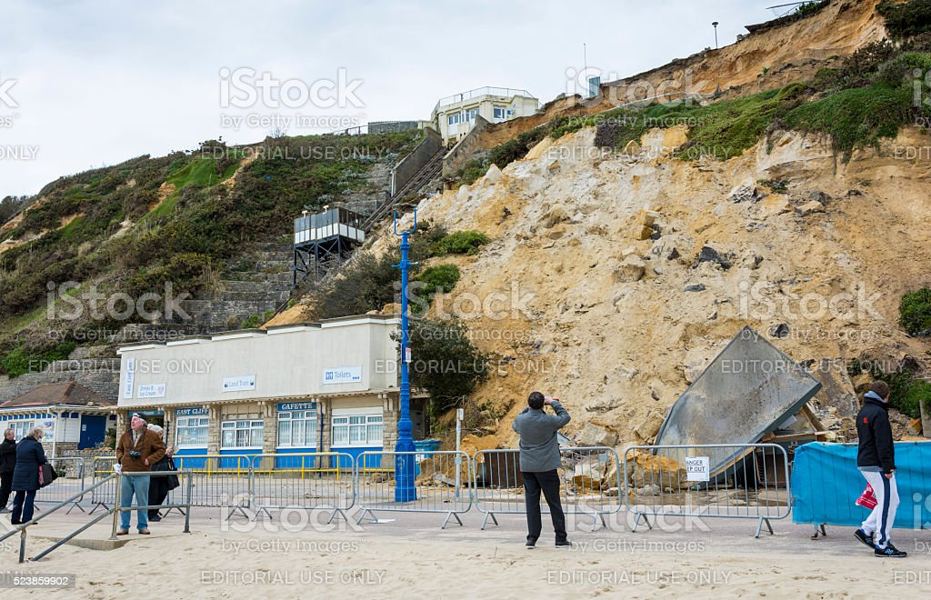 Photographing East Cliff Collapse in Bournemouth stock photo
