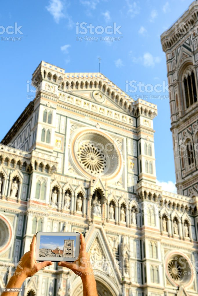 Photographing Florence Cathedral, Tuscany stock photo