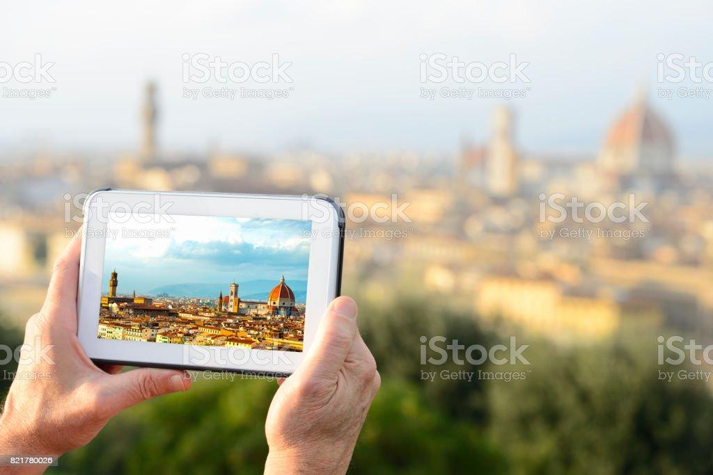 Photographing Florence skyline stock photo