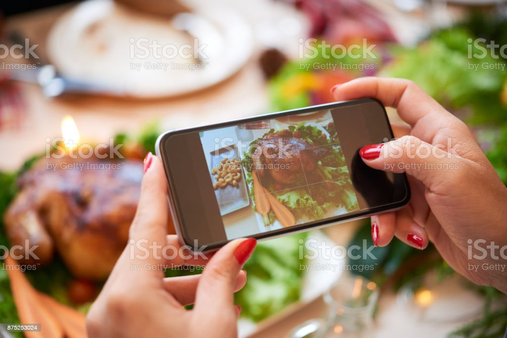 Photographing food stock photo