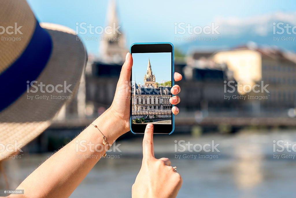 Photographing Grenoble city stock photo
