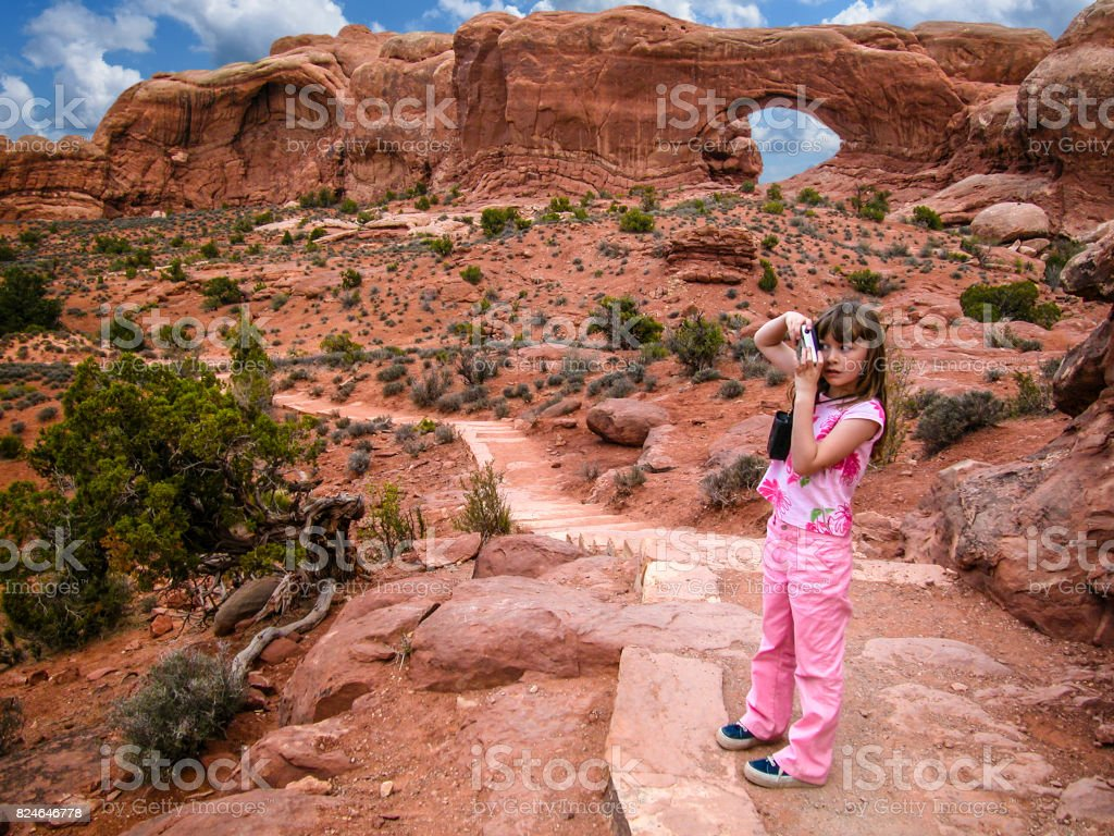 Photographing in Arches stock photo
