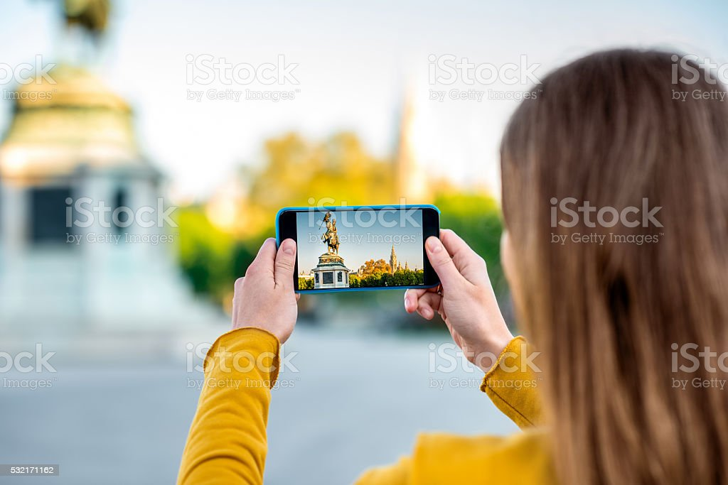 Photographing monument in Vienna stock photo