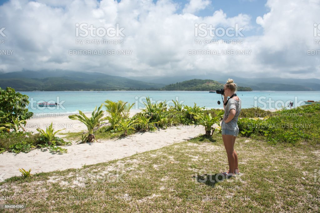 Photographing Mystery Island stock photo