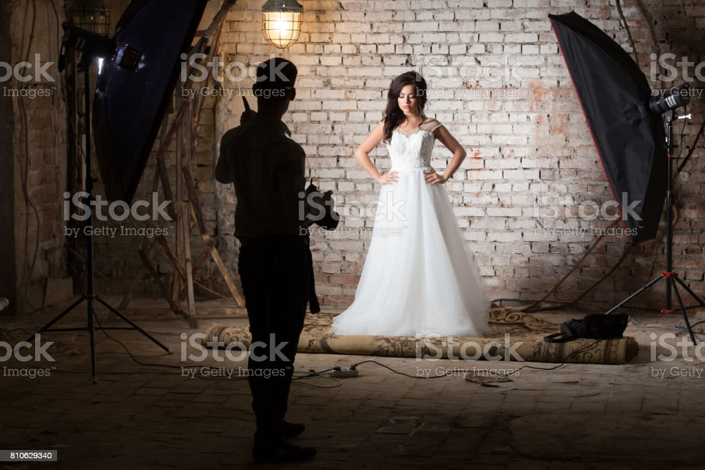 Beautiful young woman with brown hair dressed in a wedding dress. The...