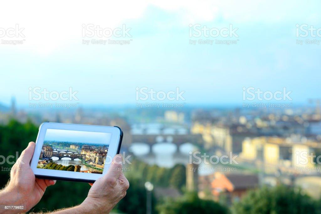 Photographing Ponte Vecchio, Florence stock photo