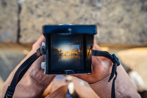Photographing Ponte Vecchio in Florence with a vintage camera