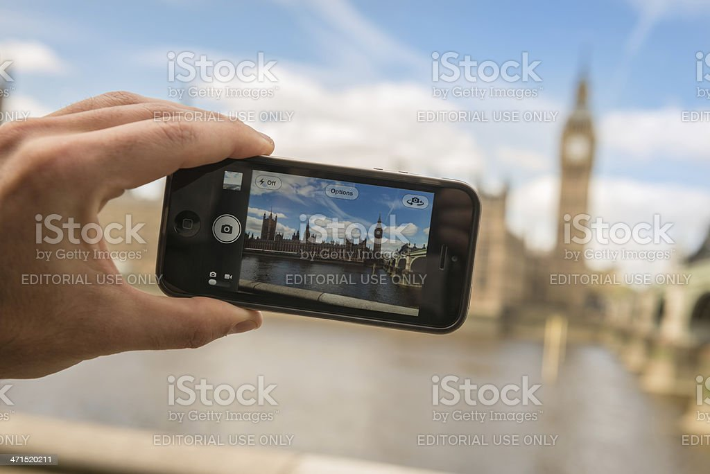 photographing the Big Ben tower with iphone 5 royalty-free stock photo