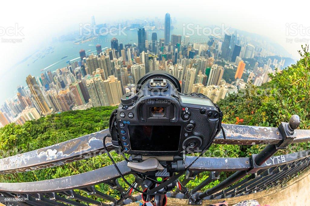 Photographing the Peak stock photo